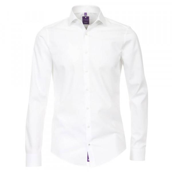 Redmond SLIM FIT Hemd UNI STRETCH weiss mit Kent Kragen in schmaler Schnittform