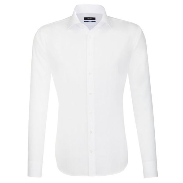 Seidensticker SHAPED Hemd UNI POPELINE weiss mit Business Kent Kragen in moderner Schnittform