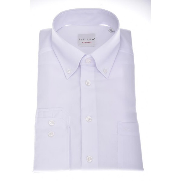 Jupiter Hemd COMFORT FIT FIL Á FIL weiss mit Button Down Kragen in klassischer Schnittform