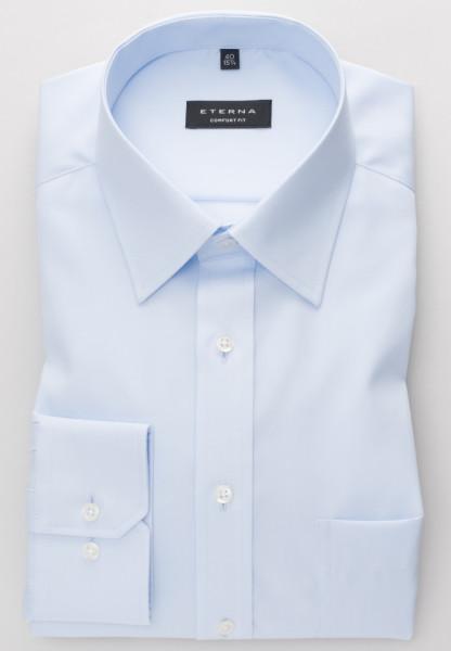 Eterna Hemd COMFORT FIT UNI POPELINE hellblau mit Basic Kent Kragen in klassischer Schnittform