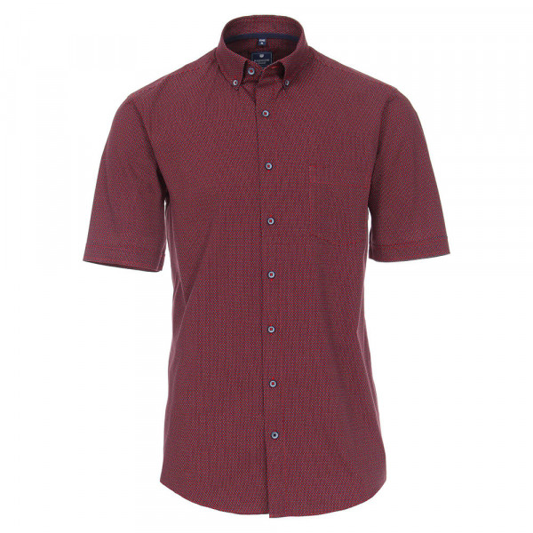 Redmond Hemd REGULAR FIT UNI POPELINE rot mit Button Down Kragen in klassischer Schnittform