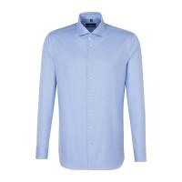 Seidensticker Hemd SHAPED TWILL hellblau mit Spread Kent Kragen in moderner Schnittform