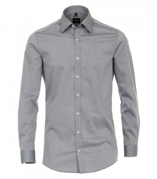 Venti Hemd BODY FIT UNI POPELINE grau mit Kent Kragen in schmaler Schnittform