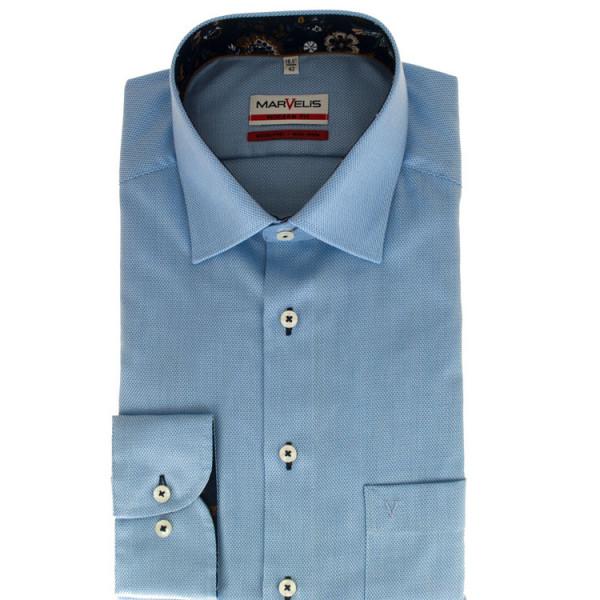 Marvelis Hemd MODERN FIT STRUKTUR hellblau mit New York Kent Kragen in moderner Schnittform