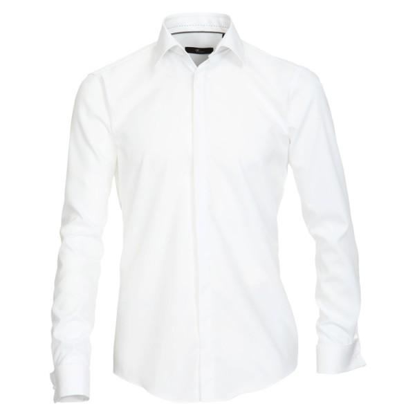 """Venti Hemd """"Popeline"""" weiß mit Kent Kragen und verdeckter Knopfleiste in moderner Schnittform"""