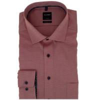 OLYMP Luxor modern fit Hemd STRUKTUR rot mit Global Kent Kragen in moderner Schnittform