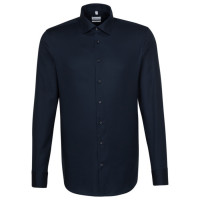 Seidensticker SLIM FIT Hemd STRUKTUR dunkelblau mit Business Kent Kragen in schmaler Schnittform