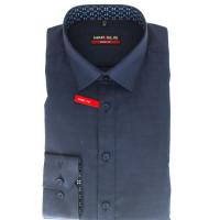 Marvelis Hemd BODY FIT STRUKTUR dunkelblau mit New York Kent Kragen in schmaler Schnittform