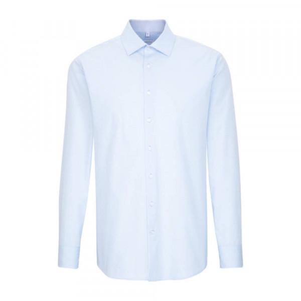 Seidensticker Hemd REGULAR PRINT hellblau mit Business Kent Kragen in moderner Schnittform