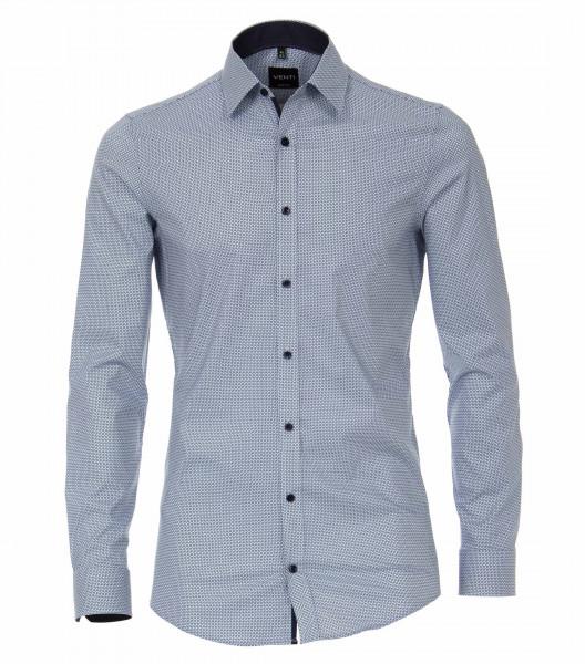 Venti Hemd BODY FIT PRINT hellblau mit Kent Kragen in schmaler Schnittform