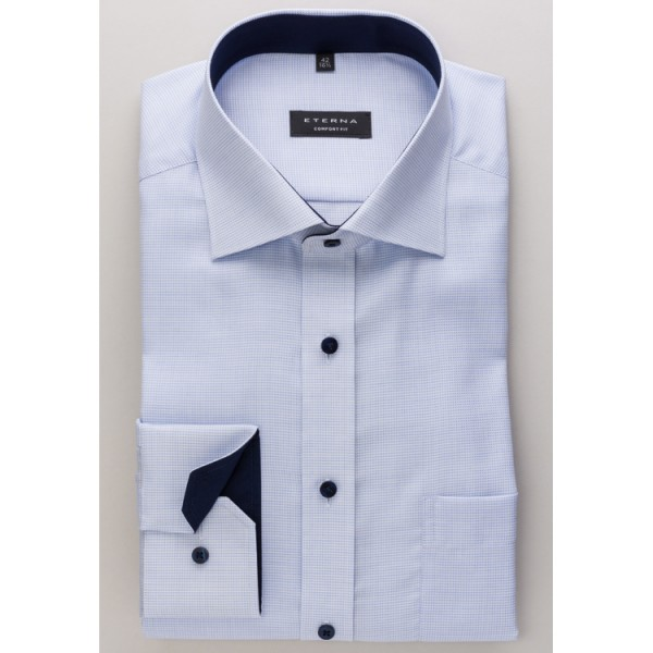 Eterna Hemd COMFORT FIT STRUKTUR hellblau mit Classic Kent Kragen in klassischer Schnittform