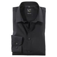 OLYMP No. Six super slim Hemd UNI POPELINE schwarz mit Urban Kent Kragen in super schmaler Schnittfo