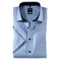 OLYMP Luxor modern fit Hemd FAUX UNI hellblau mit Global Kent Kragen in moderner Schnittform