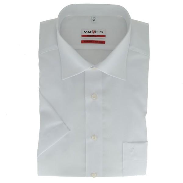 Marvelis MODERN FIT Hemd UNI POPELINE weiss mit New Kent Kragen in moderner Schnittform