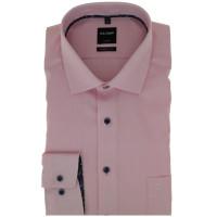 OLYMP Luxor modern fit Hemd STRUKTUR rosa mit Global Kent Kragen in moderner Schnittform