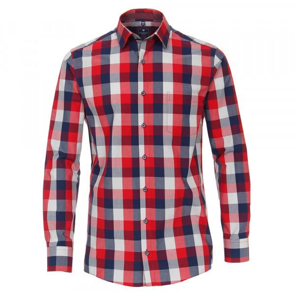 Redmond Hemd REGULAR FIT UNI POPELINE rot mit Kent Kragen in klassischer Schnittform