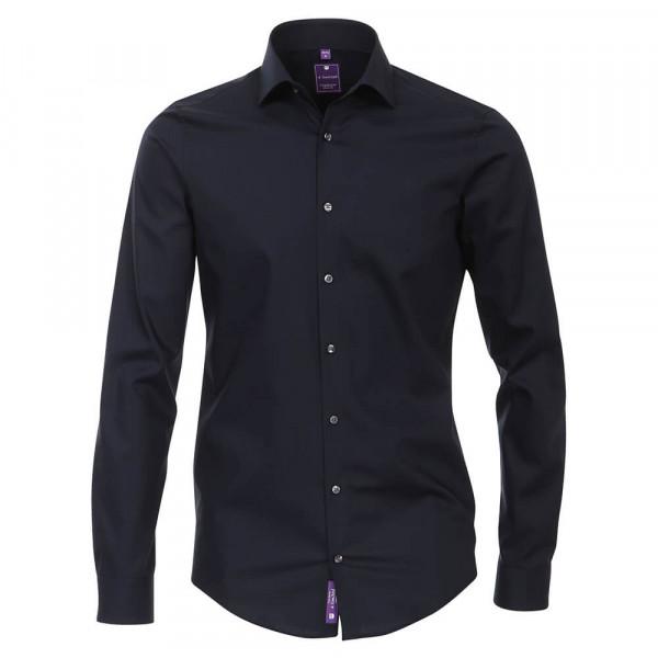 Redmond SLIM FIT Hemd UNI STRETCH dunkelblau mit Kent Kragen in schmaler Schnittform