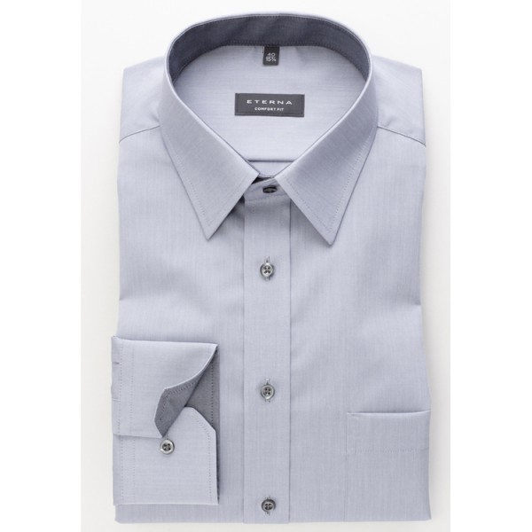 Eterna Hemd COMFORT FIT CHAMBRAY grau mit Basic Kent Kragen in klassischer Schnittform