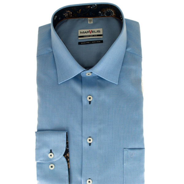 Marvelis Hemd COMFORT FIT STRUKTUR hellblau mit New York Kent Kragen in klassischer Schnittform