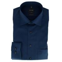 OLYMP Luxor modern fit Hemd FIL Á FIL dunkelblau mit New Kent Kragen in moderner Schnittform