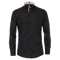 Redmond MODERN FIT Hemd UNI STRETCH schwarz mit Button Down Kragen in moderner Schnittform