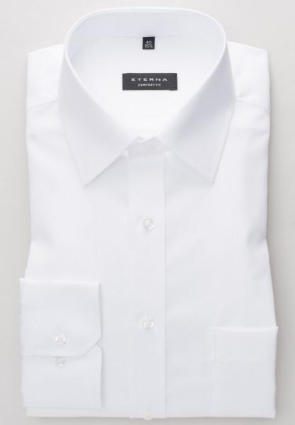Eterna Hemd COMFORT FIT UNI POPELINE weiss mit Basic Kent Kragen in klassischer Schnittform