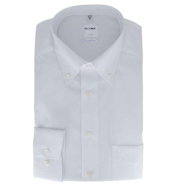 Olymp Luxor comfort fit Hemd weiß mit Button-Down Kragen in klassischer Schnittform