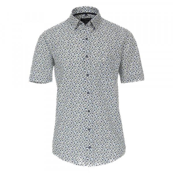 CASAMODA Hemd COMFORT FIT STRUKTUR mittelblau mit Button Down Kragen in klassischer Schnittform
