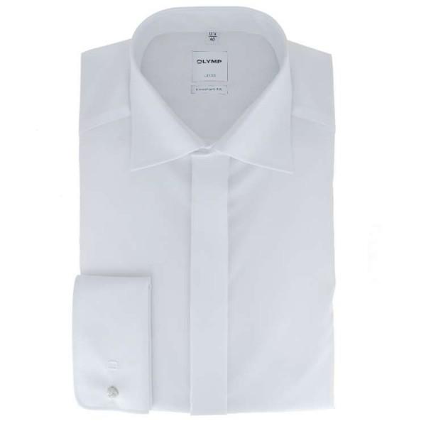OLYMP Luxor soirée comfort fit Hemd UNI POPELINE weiss mit New Kent Kragen in klassischer Schnittfor
