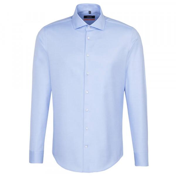 Seidensticker Hemd SLIM FIT TWILL hellblau mit Spread Kent Kragen in schmaler Schnittform