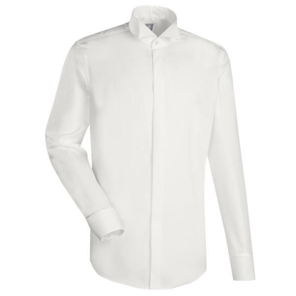 Jacques Britt SLIM FIT Hemd UNI POPELINE beige mit Kläppchen Kragen in schmaler Schnittform
