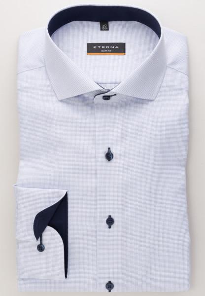 Eterna Hemd SLIM FIT STRUKTUR hellblau mit Hai Kragen in schmaler Schnittform