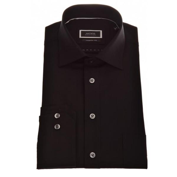 """Hatico Hemd """"Chambrey"""" schwarz mit Kent Kragen in klassischer Schnittform"""