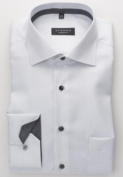 Eterna Hemd COMFORT FIT TWILL STREIFEN grau mit Classic Kent Kragen in klassischer Schnittform