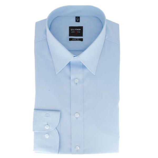 OLYMP Level Five body fit Hemd UNI POPELINE hellblau mit New York Kent Kragen in schmaler Schnittfor