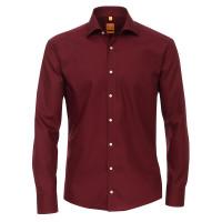 Redmond MODERN FIT Hemd UNI POPELINE dunkelrot mit Kent Kragen in moderner Schnittform