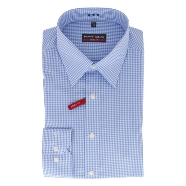 Marvelis BODY FIT Hemd OFFICE hellblau mit New York Kent Kragen in schmaler Schnittform