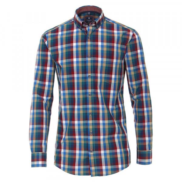 Redmond COMFORT FIT Hemd PRINT dunkelrot mit Button Down Kragen in klassischer Schnittform