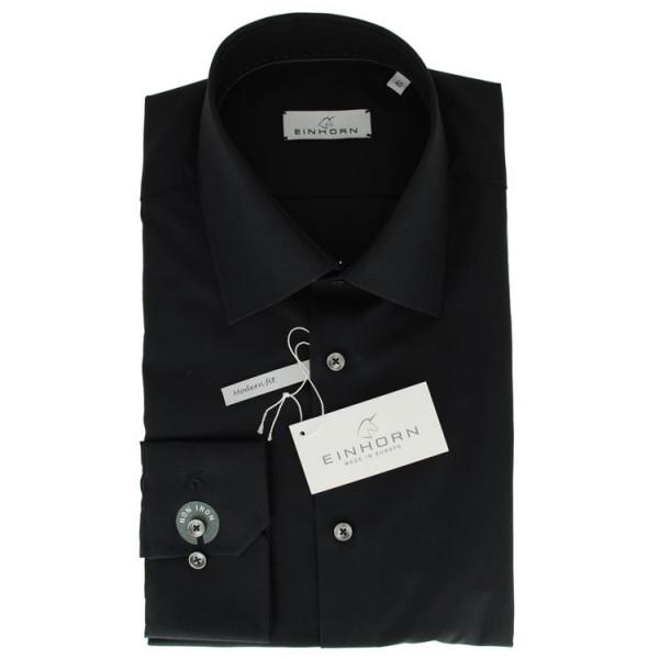"""Einhorn Hemd """"Jamie Slim"""" schwarz mit Kent Kragen in moderner Schnitform"""