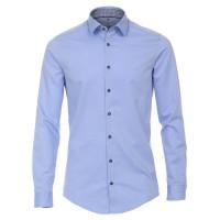 Redmond SLIM FIT Hemd UNI POPELINE hellblau mit Kent Kragen in schmaler Schnittform