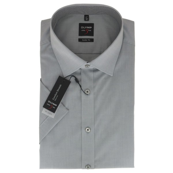 OLYMP Level Five body fit Hemd UNI POPELINE grau mit New York Kent Kragen in schmaler Schnittform