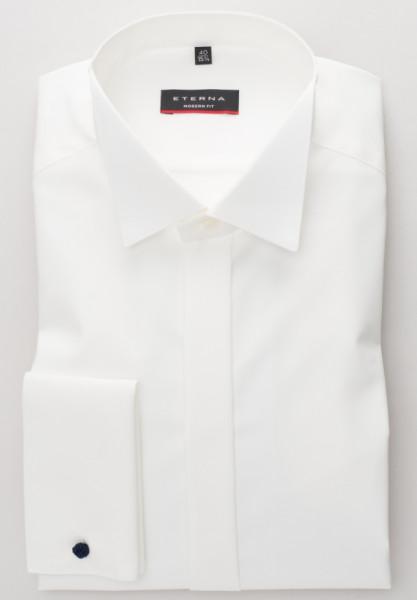 Eterna Hemd MODERN FIT TWILL beige mit Kläppchen Kragen in moderner Schnittform
