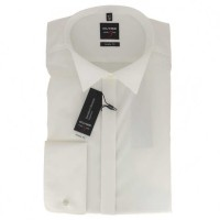 OLYMP Level Five soirée body fit Hemd UNI POPELINE beige mit Kläppchen Kragen in schmaler Schnittfor