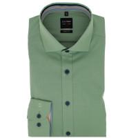 OLYMP Level Five body fit Hemd STRUKTUR grün mit Global Kent Kragen in schmaler Schnittform