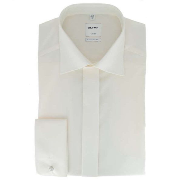 OLYMP Luxor soirée comfort fit Hemd UNI POPELINE beige mit New Kent Kragen in klassischer Schnittfor