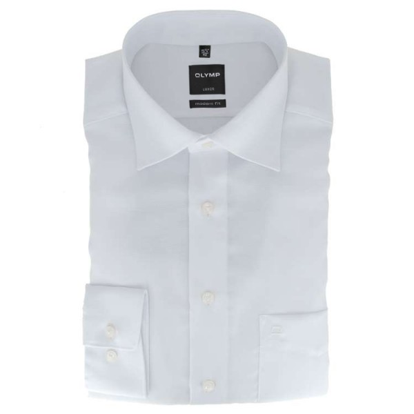 OLYMP Luxor modern fit Hemd NATTÉ weiss mit New Kent Kragen in moderner Schnittform