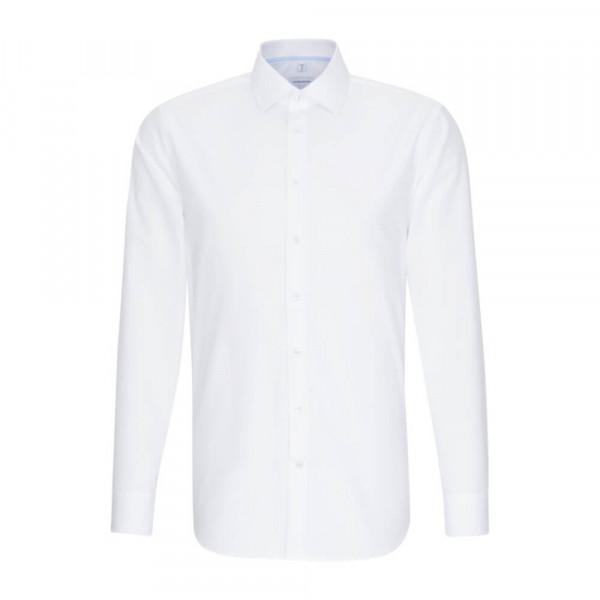 Seidensticker Hemd SHAPED UNI POPELINE weiss mit Business Kent Kragen in moderner Schnittform