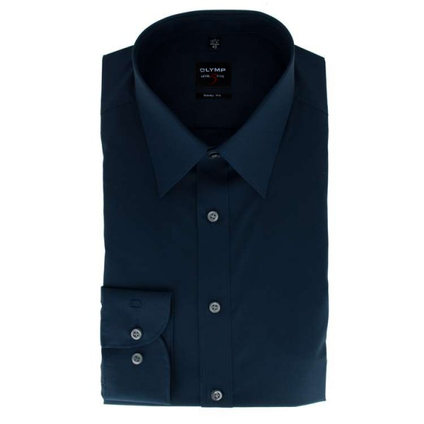 OLYMP Level Five body fit Hemd UNI POPELINE dunkelblau mit New York Kent Kragen in schmaler Schnittf