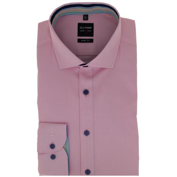 OLYMP Level Five body fit Hemd STRUKTUR rosa mit Global Kent Kragen in schmaler Schnittform