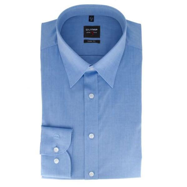 OLYMP Level Five body fit Hemd CHAMBRAY mittelblau mit New York Kent Kragen in schmaler Schnittform